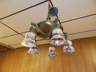 Antique Brass Victorian Pan 5 Light Fixture Chandelier With Hand Painted Shades