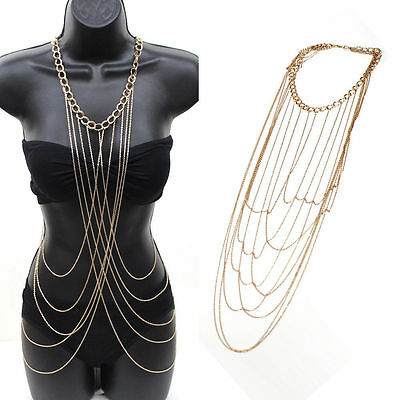 Ladies Sexy Body Full Metal Chain Gold Jewelry Necklace Bikini Beach Harness