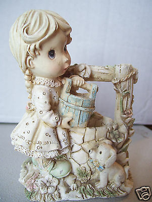 Division sales Old country gift collection Girl with dog & Bucket At Water Well