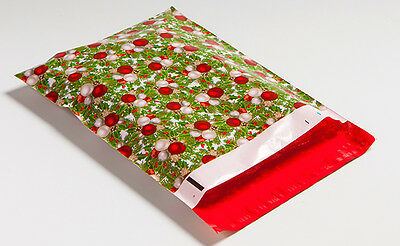 100 10x13 Green & Red Christmas Designer Poly Mailers Envelopes Bags