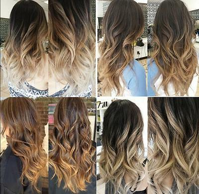 Full Head Clip in Hair Extensions Ombre Dip Dye One Piece Wavy Curly Straight 20