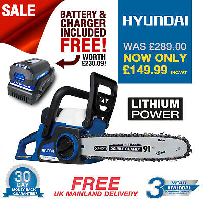 "New Hyundai 36V Cordless Lithium Battery Chainsaw 12"" Chain"