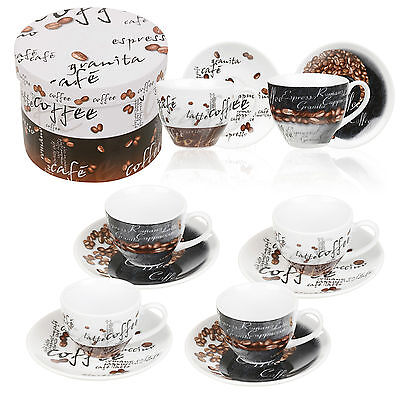 2 4 6 Porcelain Cups & Saucer Espresso Coffee Ceramic Gift Boxed Glass Cup Set