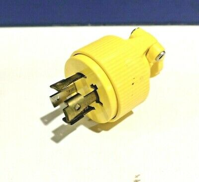 PASS & SEYMOUR NEW TURNLOK 3 Pole 4 Wire L1430P 30A 125V Grounding PLUG Yellow
