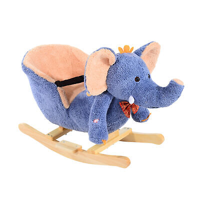 HOMCOM Children Rocking Horse Kid Rocker Baby Elephant Seat Chair w/ Sounds NEW