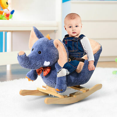 HOMCOM Rocking Horse Ride on Toy Seat Belt Safety Toddler Elephant Music