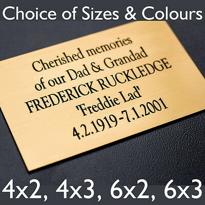 Engraved Memorial Plaque, Door Sign, Bench Plate in Silver or Brass Effect