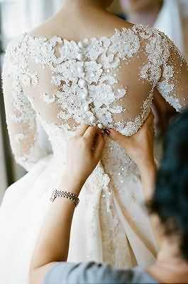 White/Ivory Lace Wedding Dress Bridal Gown Custom size 6-8-10-12-14-16-18++