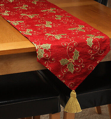 Premium Christmas Xmas Festive Chenille Holly Red Gold Table Runner with Tassel