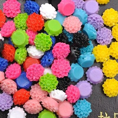 Wholesale Resin flowers cameos fit Cabochons settings flatback beads 13MM 15MM