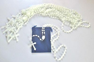 Wholesale Lot of 48 White, Pale Green Plastic Rosaries