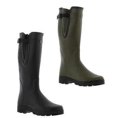 Le Chameau Wellingtons Boots Mens Vierzon Jersey Black Green Wellies Size 7-11