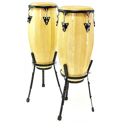 "New Congas 10"" + 11"" Set with Floor Stand by Gear4music"