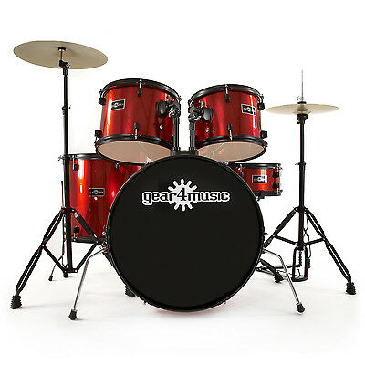 New BDK-1 Full Size Starter Drum Kit by Gear4music, Red + FREE Cymbals