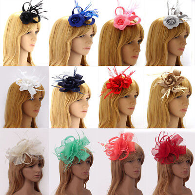 Ladies Women's Fashion Designer Feather Fascinator Horse Racing Wedding Party