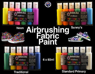 Airbrush Fabric Paints Fabric Airbrush Inks 6 x 60ml Air Brush Ink Neon Fluro