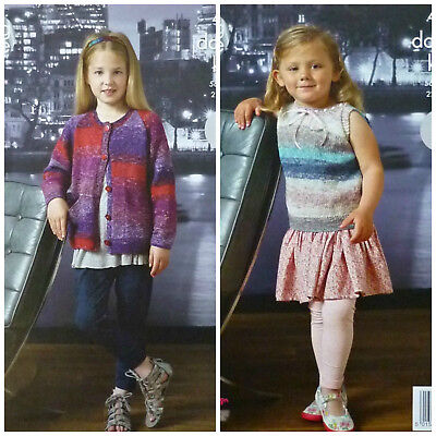 KNITTING PATTERN Girls Long Sleeve Easy Knit Cardigan & Sleeveless Top DK 4377