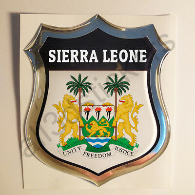 Sticker Sierra Leone Emblem 3D Resin Domed Gel Sierra Leone Flag Vinyl Decal Car