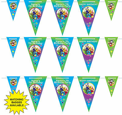 Personalised Teletubbies Birthday Bunting 3m-15 pendants, name/age