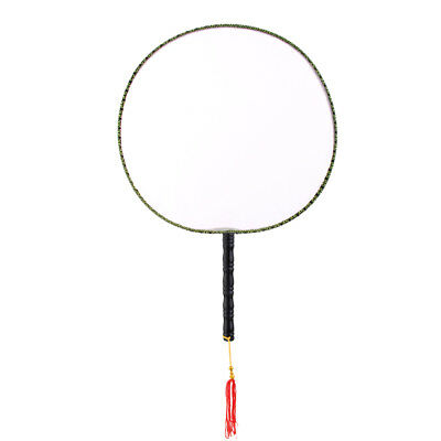 Wood Handle Chinese Vintage Palace Round Hand Held Fan DIY Art Painting Gift
