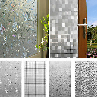 45x100cm Frosted Glass Window Sticker Film Privacy Flower Static Adhesive Cover