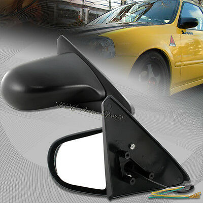 For 1996-2000 Honda Civic 2/3DR Spoon Black ABS Plastic Power Auto Side Mirrors