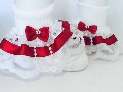 Handmade Red beads bow baby/girls/adult lace frilly socks 7 sizes available