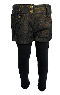 F&F Girls Black Gold Sparkly Shimmer Party Shorts And Legging Set Outfit 5-14yrs