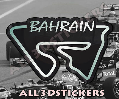"""3D Sticker Resin Domed Bahrain Circuit  12x7.5 cm (4.72x2.95 """") Adhesive Decal"""