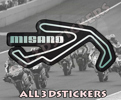"""3D Sticker Resin Domed Misano Circuit  14x7 cm (5.51x2.76 """") Adhesive Decal"""