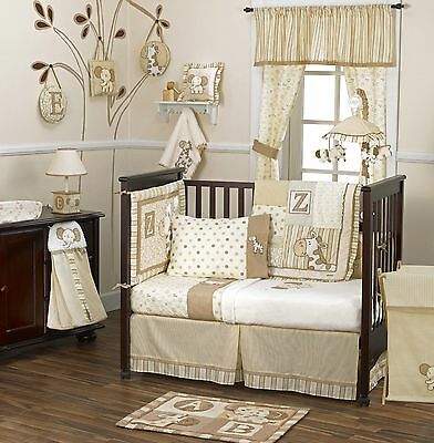 Baby Bedding Crib Cot Valance Set Toy Lamp Set- 4 Piece Caramel Kisses Theme