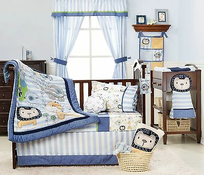 KidslineBaby Bedding Crib Cot Bumpers Quilt Sheet Set 15 Piece Sketches Boys New