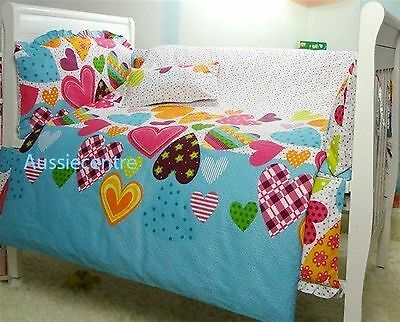 Baby Bedding Crib Cot Bumpers Quilt Sheet Set- Colourful Hearts Design Brand New