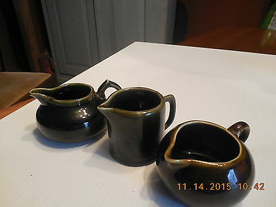 Vintage Lot Of Three (3) Hampshire Pottery Small Glazed Creamers