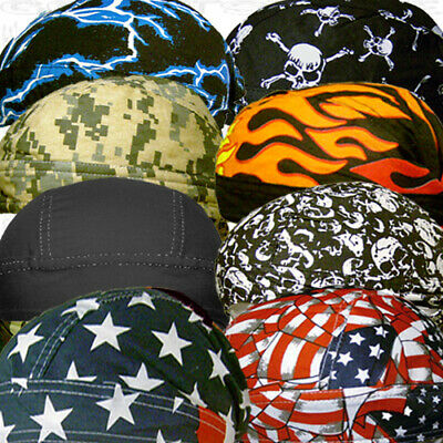 Black Motorcycle Wrap Biker Hat Do Web Bandana Doo Rag Du Head Skull Cap