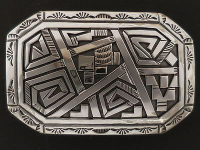 "Sterling Silver Belt Buckle Native American Peter Nelson up to 1 1/4"" belt"