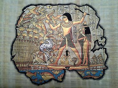 Hand Painted Egyptian Art On Papyrus, Number 34 New Ea