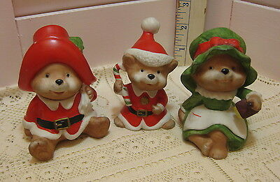 Set 3 Homco 5600 Bisque Porcelain Christmas Bear Family Figurines Vintage