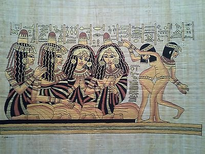 Hand Painted Egyptian Art On Papyrus, Number 42 New Ea