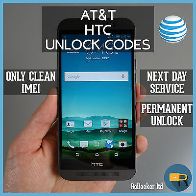 Unlock Service/Code For At&T Htc One X S V M7 M8 M9 Desire 601 510 320