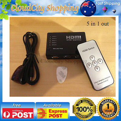 5 Way 5 in 1 out HDMI Port Switch hub with Remote Control Splitter 1080p HDTV