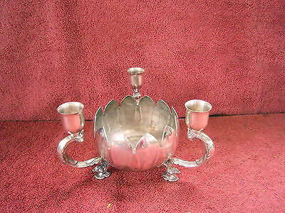 Vintage  Viners  Silver-Plated  Combination  Three Candle Holder  Ash-Tray/Bowl