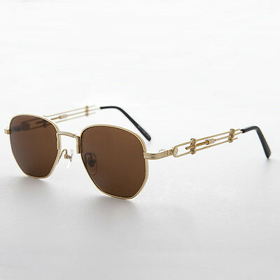 Square Steampunk Rare Vintage Sunglass with Industrial Temple Gold/Brown -Jagger