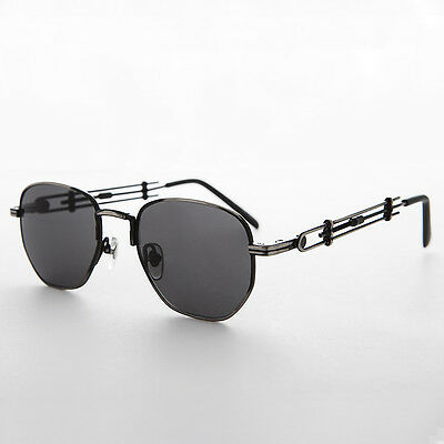 Square Steampunk Rare Vintage Sunglass with Industrial Temples Gun /Gray -Jagger