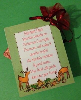 Reindeer Food! Magic Dust!  Christmas Eve Tradition! Novelty Kids Gift Favour