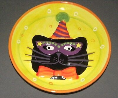 "Vintage Cat Dish Party Plate 8"" Black & Green Porcelain Kitty Face INT"