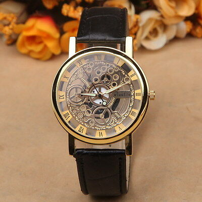 Classic Men's Gold Dial Black Brown Faux Leather Fashion Sport Army Wrist Watch