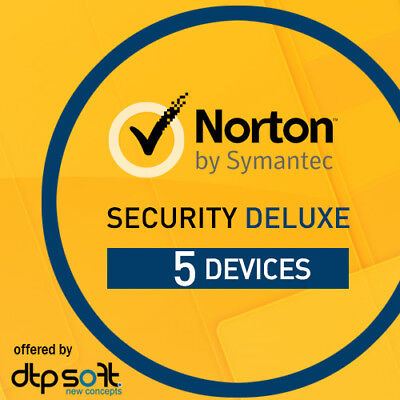 Norton Security Deluxe 2019 5 Devices 5 PC 1 Year PC MAC Internet IOS 2018 UK