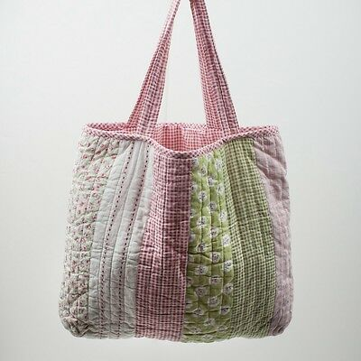 Tote Bag Nappy Knitting Shopping Craft Travel Patchwork Pink Green White