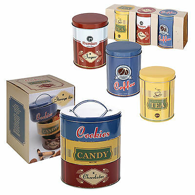 Set Of 3 Metal Round Coffee Tea Cookie Tins Kitchen Storage Dry Food Canisters